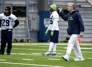 Pete Carroll at practice